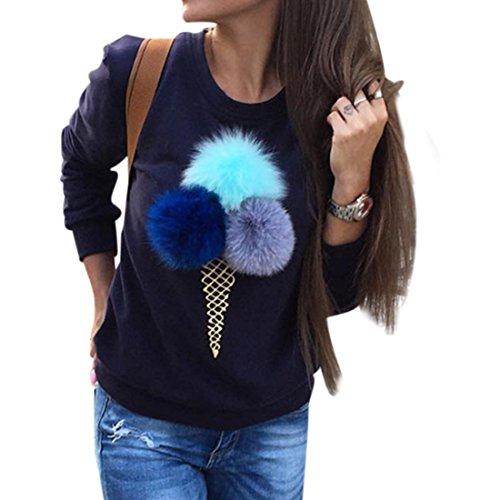 Uideazone donne gelato Felpa con stampa casual Pullover Sportwear Top Blu 12