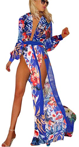 UGET Women's Colorful Floral Boho Beach Dress Split Long Cover Up Dress US 6-8 /Asia XL (Colorful Maxi Dress compare prices)
