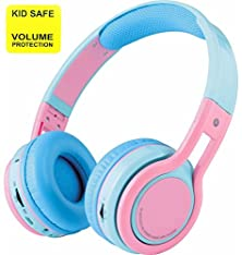 buy Pumpkin - Kid Safe Over The Ear Foldable Wireless Bluetooth Headphone W/ Volume Limiter, Built-In Micro Phone, Micro Sd Card Music Player, Fm Stereo Radio, Audio Input & Output (Blue/Pink)