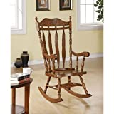 Monarch Specialties High Solid Wood Rocking Chair, 45-Inch, Dark Walnut