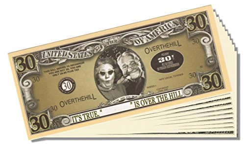 Over the Hill (30 Years Old) Million Dollar Bill - 25 Count with Bonus Clear Protector & Christopher Columbus Bill