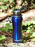 NEW 2015 Eco 700 ml Dark metallic Blue 'Fill2 Pure' 100% stainless steel micro purification filter pure water bottle with dustcap 1600 litre