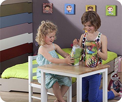 Machambredenfant - Pack Lit Enfant Empilable Bleu Chine 90x190 cm avec sommier et Matelas