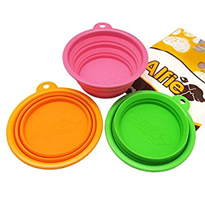 Alfie Pet by Petoga Couture - Set of 3 Ros Silicone Pet Expandable/Collapsible Travel Bowl - Size: 1.5 Cups