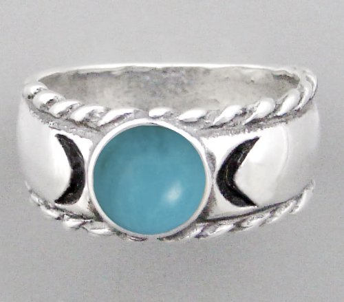 An Enchanting Sterling Silver Moon Goddess Ring with a Beautiful Turquoise Gemstone