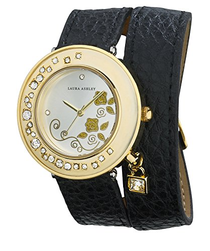 Laura Ashley Women's LA31008BK Analog Display Japanese Quartz Black Watch
