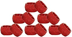 Set of 12 - Napkin Rings Pack Red - Hollow Out Round Napkin Rings for Wedding Party Holiday Dinner - Dia 2.5 Inches