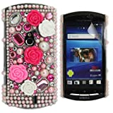 JJOnline Diamond Princess Series - Hard Shell Phone Case Cover For Sony Ericsson Xperia Neo MT15i Including LCD Screen Film Protector And Micro Fiber Polishing Cloth / Hot Pink