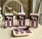 Pink And Black Lion - 4 Piece Set Ceramic Bathroom Accessory,Luxury Decor,Elegant Designing Bathrooms,Wedding Gifts,Soap Dispenser/Toothbrush Holder/1 Bathroom Tumbler/Soap Dish