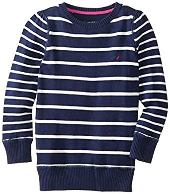 Nautica Little Girls' Stripe Long Sleeve Sweater, Naval Blue, 5