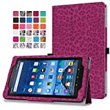 MoKo Case for Fire 7 2015 - Slim Folding Cover for Amazon Fire Tablet (7 inch Display - 5th Generation, 2015 Release Only), Leopard RED