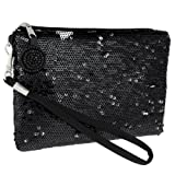 Capelli New York Two Tone Sequined Wristlet With Beaded Zipper Pull
