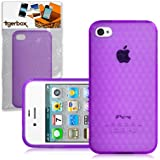 CNL Protective Hexagonal Gel Cover Case Skin for the Apple iPhone 4 / 4S Mobile Phone (Purple)