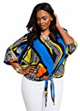 Ashley Stewart Womens Plus Size Abstract Print Tie Front Top