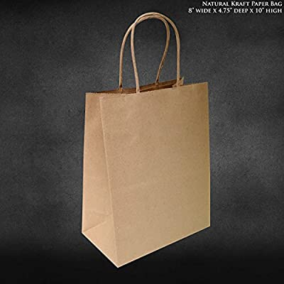 "8""x4.75""x10"" 50 pcs Brown Kraft Paper Bags Shopping Merchandise Bags Party Bags Gift Bags Retail Bags Craft Bags Brown Bag Natural Bag"