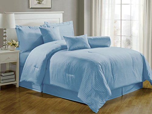 Chezmoi Collection 7-Pieces Hotel Dobby Stripe Duvet Cover Set, Queen, Light Blue