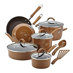Rachael Ray Cucina Hard Enamel Nonstick 12-piece Cookware Set (Mushroom Brown)