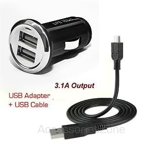 For Verizon Jetpack 4G LTE Mobile Hotspot MiFi 4620LE, 4620L, 890L Life-Tech Dual USB Car Charger w/ Data Cable