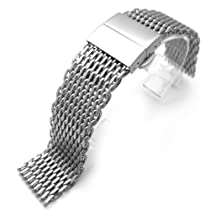 "24mm Retro Ploprof Flatten ""SHARK"" Mesh Watch Band Deployment Strap Brushed, AB"