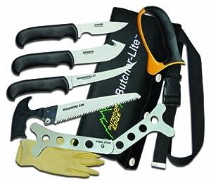 Outdoor Edge Butcher-Lite BL-1 Lightweight 8-Piece Butcher Kit with Belt Scabbard