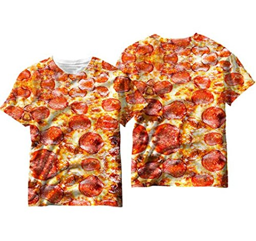 All Over Sublimation Print MENS T-SHIRT, Pepperoni Pizza, Large