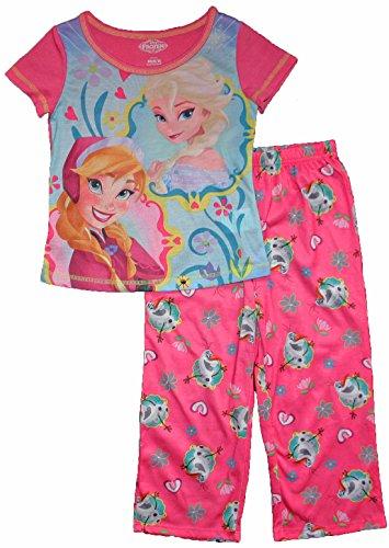 Frozen Big Girls Anna, Elsa, Olaf 2 Pc Sleepwear Set (M (7/8))
