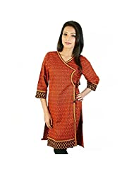 Jaipur RagaEthnic Design Hand Block Red-Black Cotton Top Red-Black Cotton Kurti