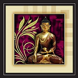 JAY GANESH FRAMES, DIGITALLY PRINTED CLASSIC, CREATIVE AND DECORATIVE PHOTO FRAMES/WALL HANGINGS FOR HOME DECOR, LORD BUDDHA IN PURPLE WITH BLACK FRAME, SIZE:13.5x13.5 inch