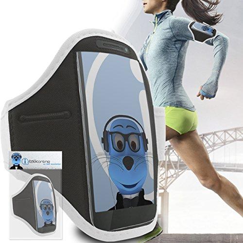 iTALKonline Vodafone Smart 4 Power Bianco Nero regolabile acqua / resistente all'umidità Sports GYM Jogging Correre copertura della cassa della fascia di braccio del bracciale con soldi chiave cuffia tasca