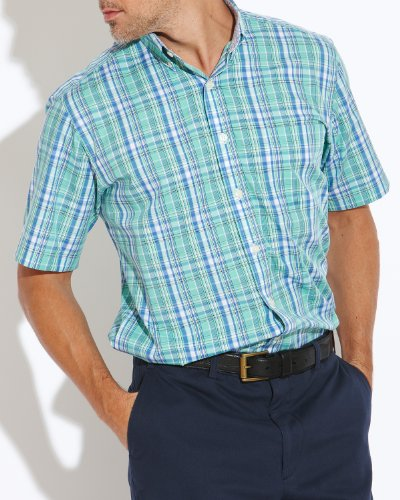 Savile Row Men's Green Blue Check Buttondown Collar Short Sleeved Casual Shirt Size XX-Large