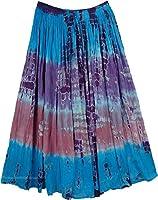 "TLB - Turquoise Pink Summer Tie Dye Long Skirt - L:35""; W:30""-40"""