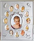 Silver Colour 'My First Year' Baby Multi-Photo Frame holds 13 Photos