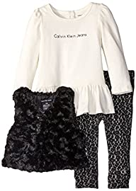 Calvin Klein Baby Girls' Black Fur Ve…