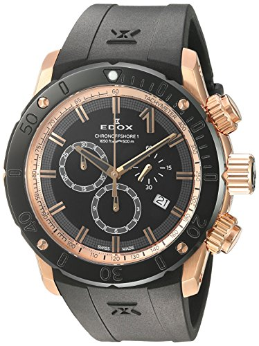 Edox-Mens-Chronoffshore-1-Swiss-Quartz-Stainless-Steel-and-Rubber-Diving-Watch-ColorBlack-Model-10221-37R-NIR