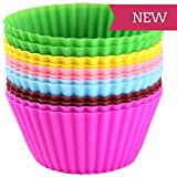 miQQi Living Silicone Baking Cups - 12 Reusable BPA Free Muffin Cups In 6 Assorted Vibrant Colors.