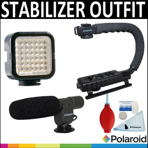 Polaroid Sure-Grip Professional Action Stabilizing Handle Mount + Polaroid Pro Video Condenser Shotgun Microphone + Polaroid 36 Led Light Bar + Accessory Kit For The Canon Digital Eos Rebel T4I (650D), T3 (1100D), T3I (600D), T1I (500D), T2I (550D), Xsi (