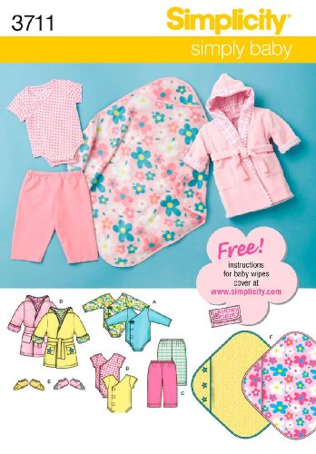 Simplicity 3711 Babies, Baby Layette Set: Body Suit, Pants, Robe, Booties, Blanket ~ Sewing Pattern front-818412