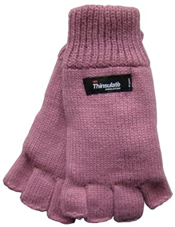 Ladies Fingerless Knitted Gloves Thinsulate Thermal Acrylic Winter Warm (Pink)