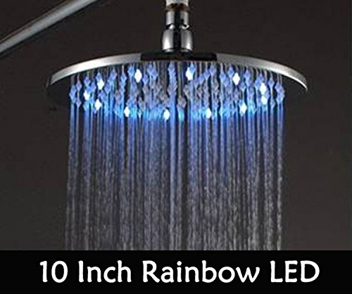 Sweetdecor 2014 Promotion Sale 10 Inch Led Shower Head With Brass Chrome 250Mm Rainbow Colours As Time Changes Light 20004
