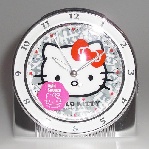 Hello Kitty Exclusive Musical Alarm Clock (Art Deco Silver & White Color)