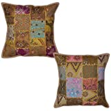 Sequins Work Cotton Vintage Cushion Cover Embroidery 16 By 16 Inches 2 Pcs