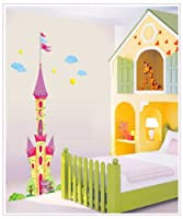 "Salala 69"" Tall Colorful Castle with Flag Wall Sticker Super for Girls' Room Wall Decor by Salala"