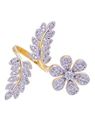 Sheetal Creations Flower And Branch Shaped Two Finger Ring For Women (Scfr0037)
