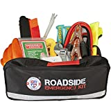 Roadside Assistance Auto Emergency Kit for Car - Fully Stocked (65 Pieces) Jumper Cables, Self-Powered LED Flashlight, First Aid Kit, Adjustable Wrench, 3-Ton Tow Rope, Gloves & More for Your Vehicle.
