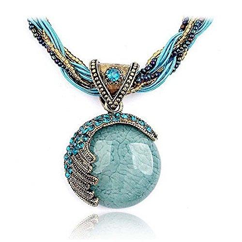 Kaariag Punkin  Bohemia Style Vintage Opal Pendant Necklace