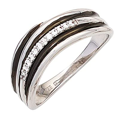 Women's Ring with 12diamonds 585white gold with black inserts Gold Ring