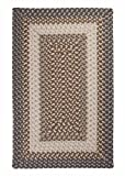 Gray & Brown Contoured Border Rug, Braided 2ft. x 3ft. Very Durable Indoor/Outdoor Kitchen Carpet