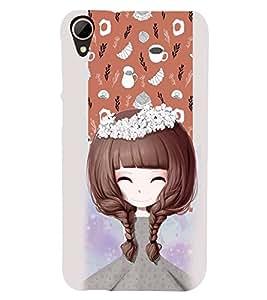 Fuson Premium Beautiful Girl Printed Hard Plastic Back Case Cover for HTC Desire 828