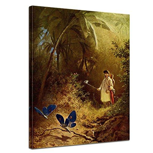 """Bilderdepot24 Leinwandbild Carl Spitzweg - Alte Meister """"Der Schmetterlingsfänger"""" 50x70cm - fertig gerahmt, direkt vom Hersteller"""