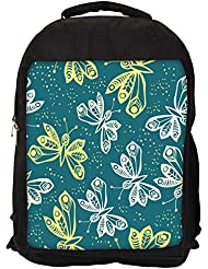 "Snoogg White And Yellow Butterfly Casual Laptop Backpak Fits All 15 - 15.6"" Inch Laptops"